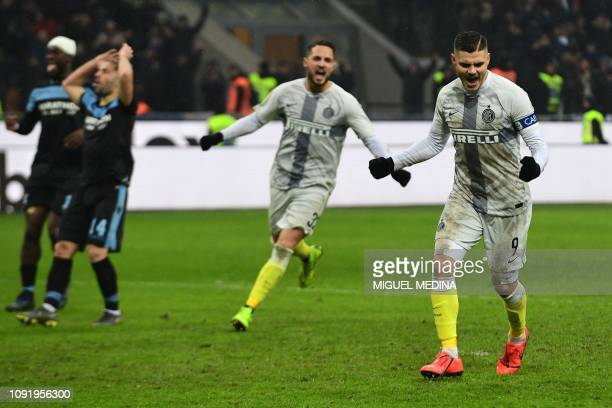 Inter Milan's Argentine forward Mauro Icardi celebrates after scoring a last second penalty during the Italian Tim Cup round of eight football match...