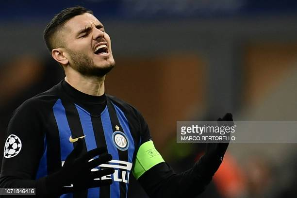 Inter Milan's Argentine forward Mauro Icardi react during the UEFA Champions League group B football match Inter Milan vs PSV Eindhoven on December...