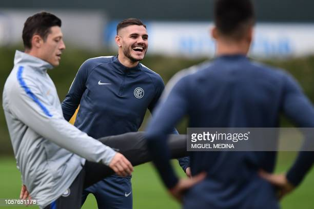 Inter Milan's Argentine forward Mauro Icardi smiles during a training session on November 5 2018 at the Appiano Gentile training ground near Milan on...
