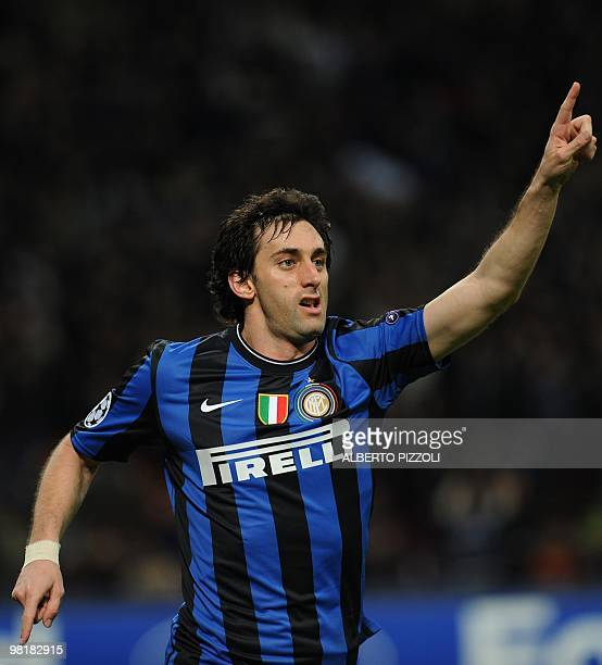 Inter Milan's Argentinian forward Alberto Milito Diego celebrates after scoring against CSKA Moscow during their UEFA Champions League football match...