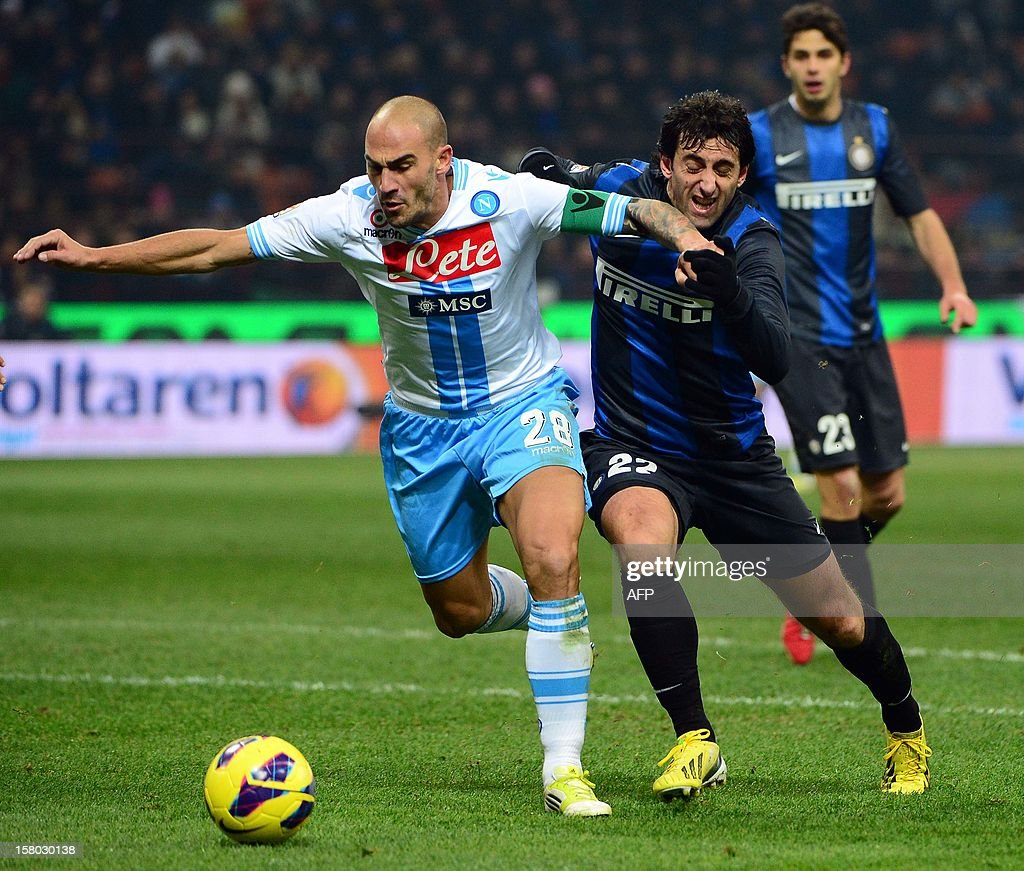 Inter Milan's Argentinian forward Diego Alberto Milito (R) fights for the ball with Napoli's defender Paolo Cannavaro during the Italian serie A football match between Inter MIlan and Napoli on December 9, 2012 at the San Siro stadium in Milan.
