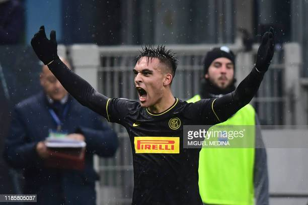 Inter Milan's Argentinian forward Lautaro Martinez celebrates after scoring his team's second goal during the Italian Serie A football match Inter...