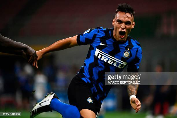 Inter Milan's Argentinian forward Lautaro Martinez celebrates after scoring during the Italian Serie A football match Inter Milan vs Napoli played...