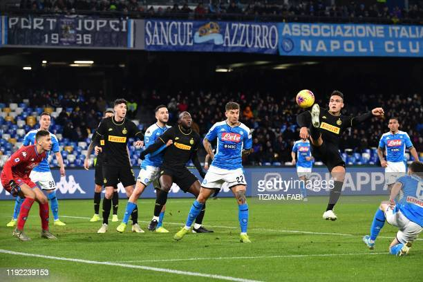 Inter Milan's Argentinian forward Lautaro Martinez goes for the ball during the Italian Serie A football match Napoli vs Inter Milan on January 6,...