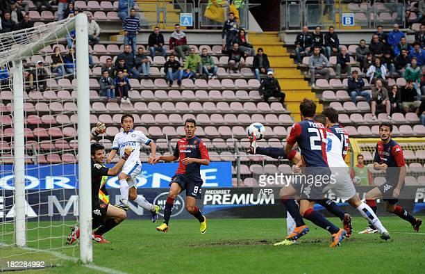 Inter Milan's Argentinian forward Mauro Emanuel Icardi kicks and scores during the Italian Serie A football match Cagliari vs Inter Milan on...