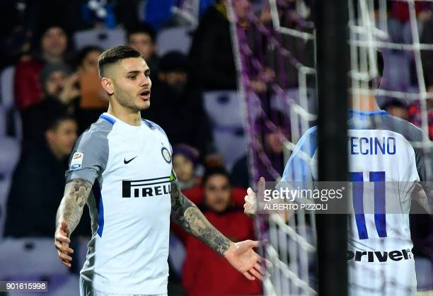 Inter Milan's Argentinian forward Mauro Icardi celebrates after scores during the Italian Serie A football match Fiorentina vs Inter Milan on January...