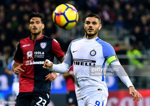 Inter Milan's Argentinian forward Mauro Icardi eyes the ball during the Italian Serie A football match between Cagliari and Inter Milan on November...