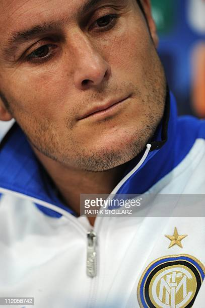 Inter Milan's Argentinian midfielder Javier Zanetti attends a press conference on April 12 2011 in Gelsenkirchen western Germany German first...