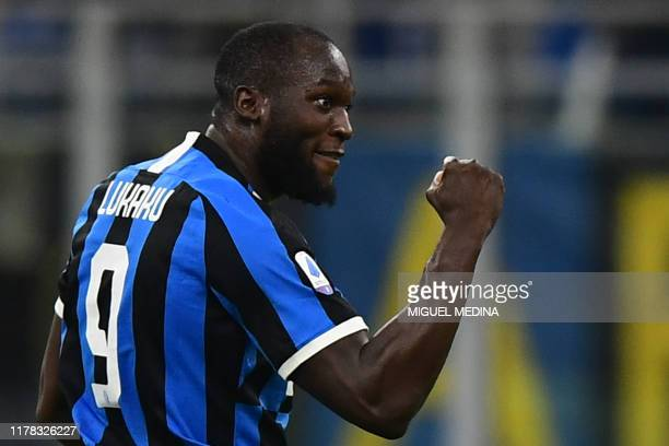 TOPSHOT Inter Milan's Belgian forward Romelu Lukaku after scoring an equalizer during the Italian Serie A football match Inter Milan vs Parma on...