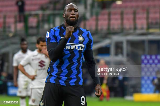 Inter Milan's Belgian forward Romelu Lukaku celebrates after scoring a penalty during the Italian Serie A football match Inter vs Torino on November...