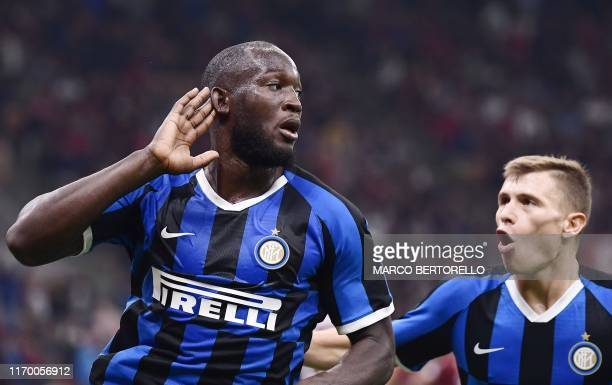 Inter Milan's Belgian forward Romelu Lukaku celebrates with Inter Milan's Italian midfielder Nicolo Barella after scoring during the Italian Serie A...