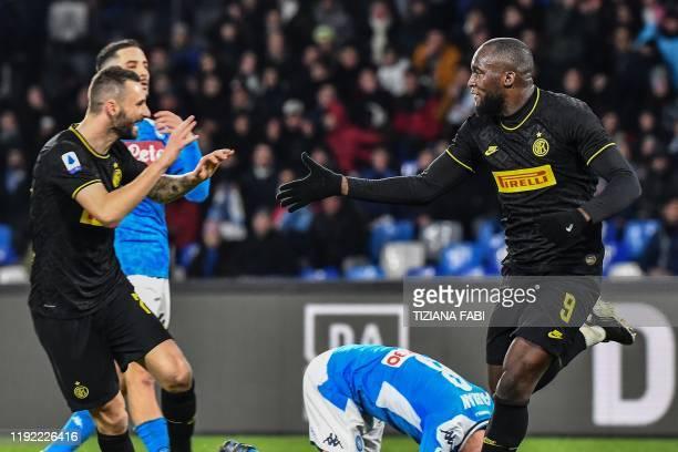 Inter Milan's Belgian forward Romelu Lukaku celebrates with Inter Milan's Croatian defender Marcelo Brozovic after scoring his second goal during the...