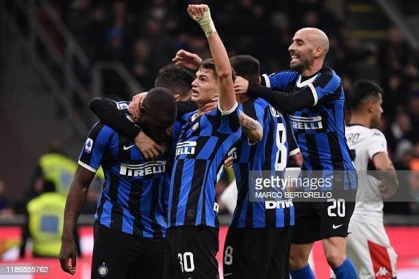 Inter Milan's Belgian forward Romelu Lukaku Inter Milan's Italian forward Sebastiano Esposito Inter Milan's Spanish midfielder Borja Valero and Inter...