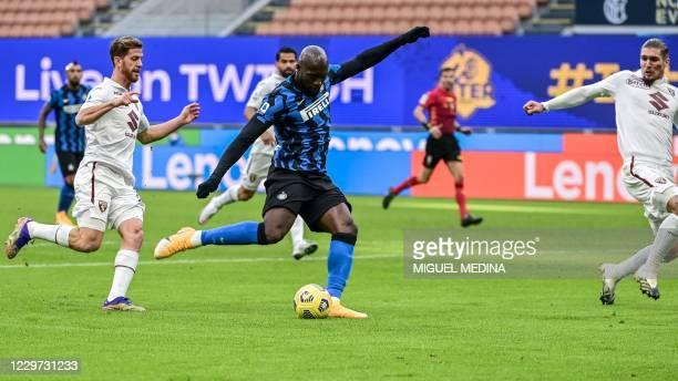 Inter Milan's Belgian forward Romelu Lukaku shoots on goal during the Italian Serie A football match Inter vs Torino on November 22, 2020 at the...