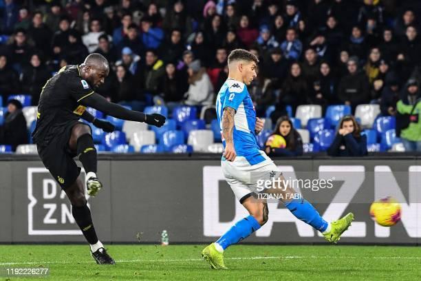 Inter Milan's Belgian forward Romelu Lukaku shoots to score his second goal past Napoli's Italian defender Giovanni Di Lorenzo during the Italian...