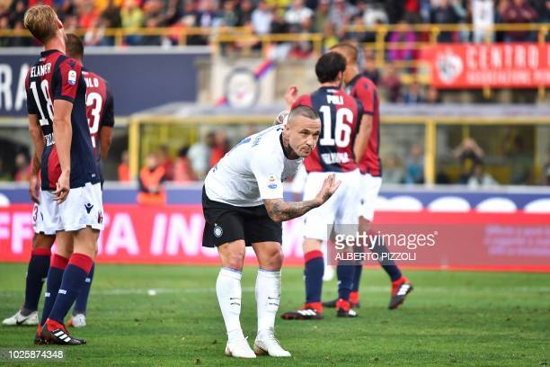 Inter Milan's Belgian midfielder Radja Nainggolan celebrates after he scored during the Italian Serie A football match between Bologna and Inter...