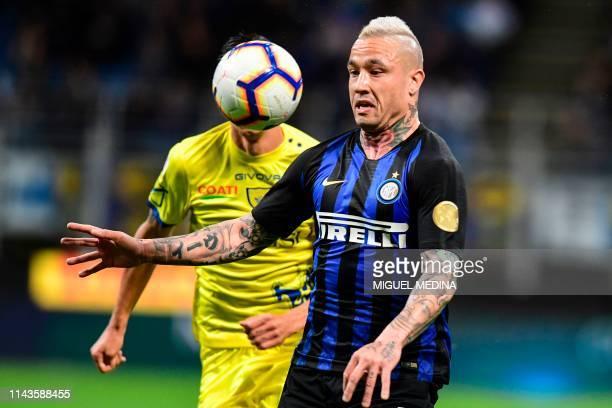 Inter Milan's Belgium midfielder Radja Nainggolan eyes the ball during the Italian Serie A football match between Inter Milan and Chievo at the San...