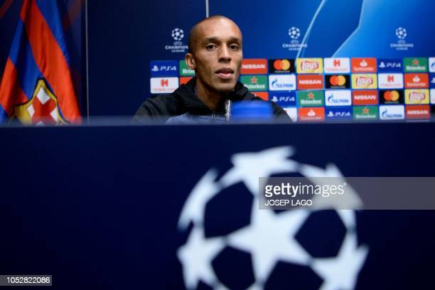Inter Milan's Brazilian defender Joao Miranda holds a press conference at the Camp Nou stadium in Barcelona on October 23 2018 on the eve of the UEFA...