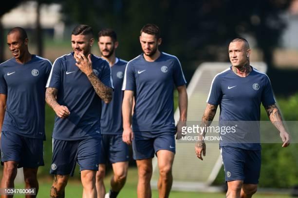 Inter Milan's Brazilian defender Miranda Inter Milan's Argentine forward Mauro Icardi Inter Milan's Dutch defender Stefan de Vrij and Inter Milan's...