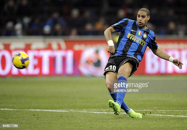 Inter Milan's Brazilian forward Adriano kicks the ball during their Italian Serie A match against AC Milan at San Siro Stadium in Milan on February...