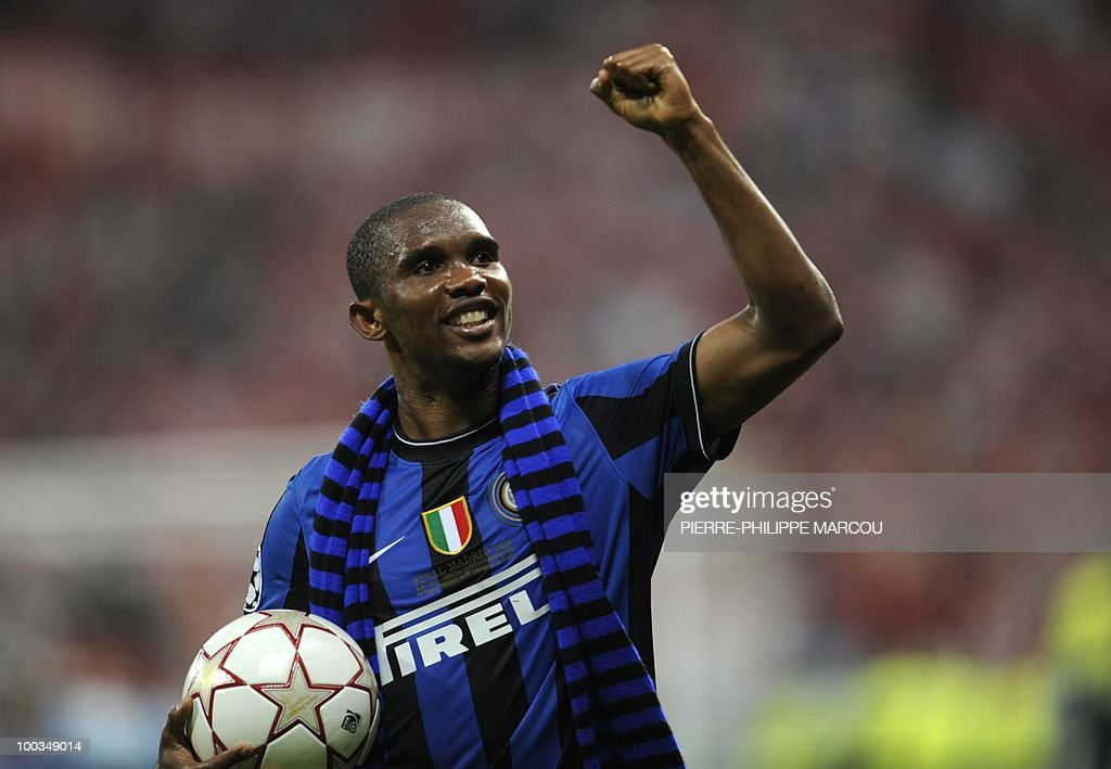 Inter Milan's Cameroonian forward Samuel Eto'o celebrates after the UEFA Champions League final football match Inter Milan against Bayern Munich at the Santiago Bernabeu stadium in Madrid on May 22, 2010. Inter Milan won the Champions League with a 2-0 victory over Bayern Munich in the final at the Santiago Bernabeu. Argentine striker Diego Milito scored both goals for Jose Mourinho's team who completed a treble of trophies this season.