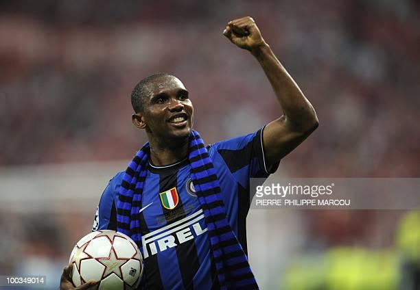 Inter Milan's Cameroonian forward Samuel Eto'o celebrates after the UEFA Champions League final football match Inter Milan against Bayern Munich at...