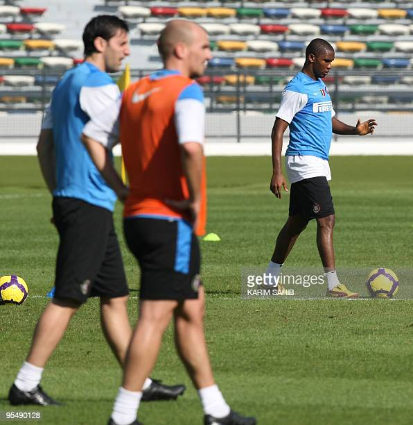 Inter Milan's Cameroonian forward Samuel Eto'o takes part in a training session at Zayed Sports City in Abu Dhabi on December 30 2009 Inter Milan...