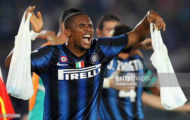 Inter Milan's Cameroonian striker Samuel Eto'o celebrates after scoring his team's second goal against TP Mazembe during their 2010 FIFA Club World...