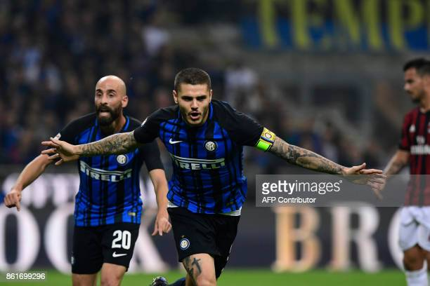 Inter Milan's Captain Argentinian forward Mauro Icardi celebrates after scoring during the Italian Serie A football match Inter Milan Vs AC Milan on...