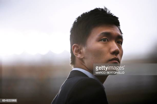 Inter Milan's chairman Steven Zhang looks on before the Italian Serie A football match Torino vs Inter Milan on March 18 2017 at the Grande Torino...