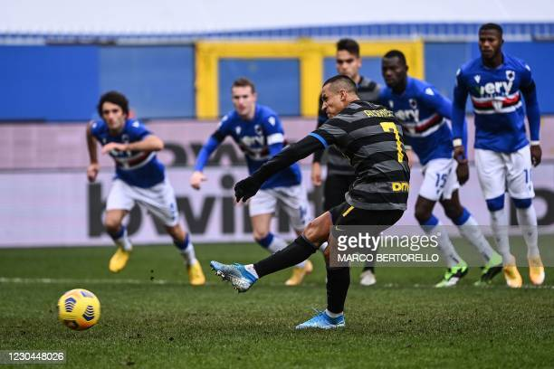Inter Milan's Chilean forward Alexis Sanchez shoots and fails to score a penalty during the Italian Serie A football match Sampdoria vs Inter Milan...