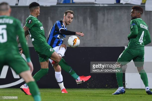 Inter Milan's Christian Eriksen from Denmark passes the ball during the UEFA Europa League round of 32 first leg football match between PFC...