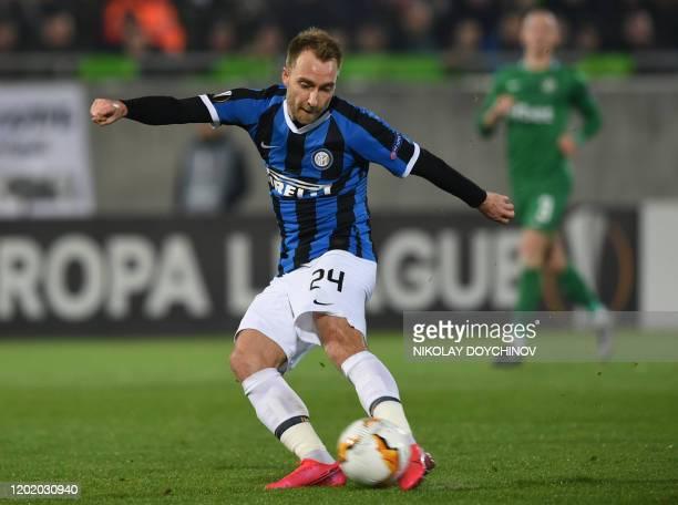 Inter Milan's Christian Eriksen from Denmark shoots the ball during the UEFA Europa League round of 32 first leg football match between PFC...