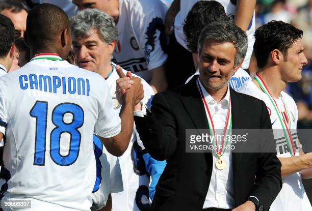 Inter Milan's coach Jose Mourinho celebrates during the ceremony of the Italian Serie A title on May 16 2010 in Siena Inter Milan secured a fifth...