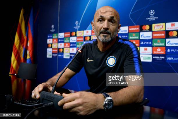 Inter Milan's coach Luciano Spalletti holds a press conference at the Camp Nou stadium in Barcelona on October 23 2018 on the eve of the UEFA...
