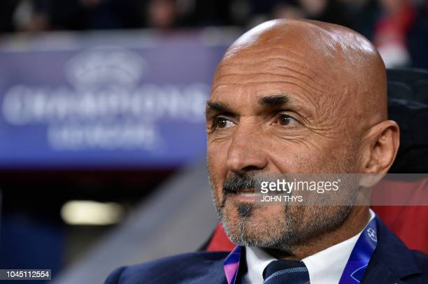 Inter Milan's coach Luciano Spalletti looks on prior to the UEFA Champions League Group B football match PSV Eindhoven vs Inter Milan at Philips...