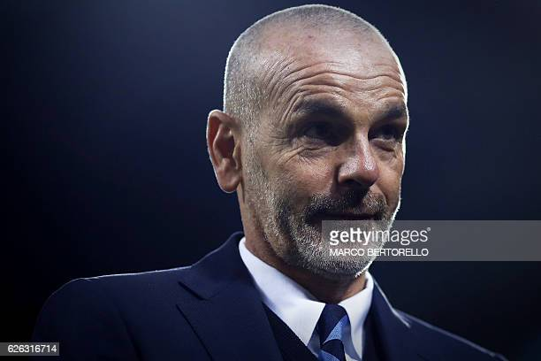 Inter Milan's coach Stefano Pioli attends the Italian Serie A football match between Inter Milan and Fiorentina on November 28 2016 at the San Siro...