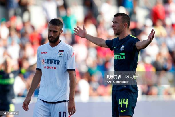 Inter Milan's Croatian midfielder Ivan Perisic celebrates after scoring during the Italian Serie A football match FC Crotone vs FC Internazionale...
