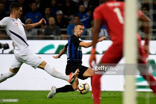 Inter Milan's Croatian midfielder Ivan Perisic controls the ball during the Italian Serie A football match Inter Milan vs Fiorentina on FFF at the...