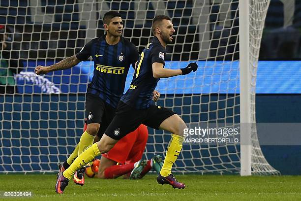 Inter Milan's Croatian midfielder Marcelo Brozovic celebrates after scoring a goal during the Italian Serie A football match between Inter Milan and...