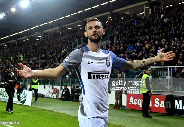 Inter Milan's Croatian midfielder Marcelo Brozovic celebrates after scoring a goal during the Italian Serie A football match between Cagliari and...