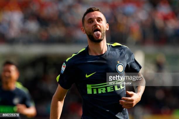 Inter Milan's Croatian midfielder Marcelo Brozovic celebrates after scoring during the Italian Serie A football match Benevento Calcio vs Inter Milan...