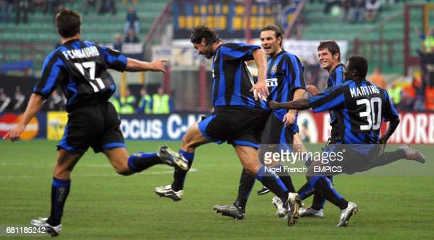 Inter Milan's Daniele Adani celebrates his goal with team mates against Dynamo Kiev