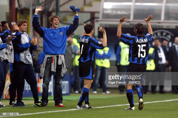 Inter Milan's Daniele Adani celkebrates his goal with teammates on the sidelines