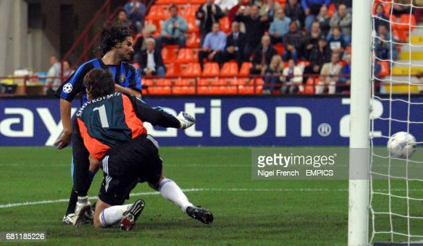 Inter Milan's Daniele Adani scores the first goal past Dynamo Kiev's keeper Shovkovskyi