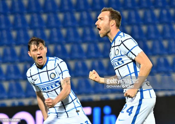 Inter Milan's danish midfielder Christian Eriksen celebrates after scoring against Crotone during the Italian Serie A football match Crotone vs Inter...