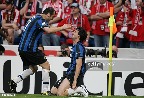 Inter Milan's Diego Milito celebrates his goal during the UEFA Champions League final between Bayern Munich and Inter Milan at the Santiago Bernabeu...