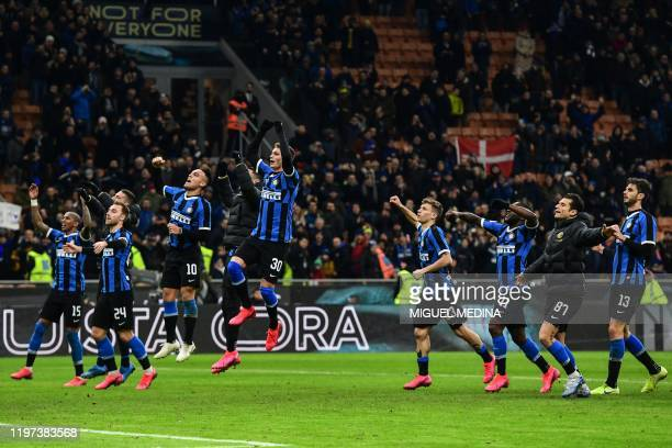 Inter Milan's English midfielder Ashley Young, Inter Milan's Danish midfielder Christian Eriksen, Inter Milan's Argentinian forward Lautaro Martinez,...