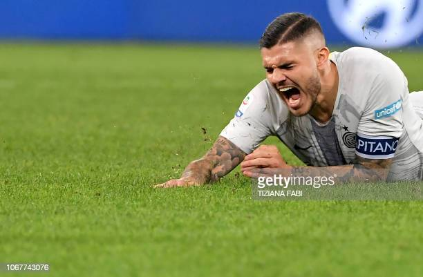 Inter Milan's forward from Argentina Mauro Icardi reacts during the Italian Serie A football match between AS Roma and Inter Milan at the Olympic...