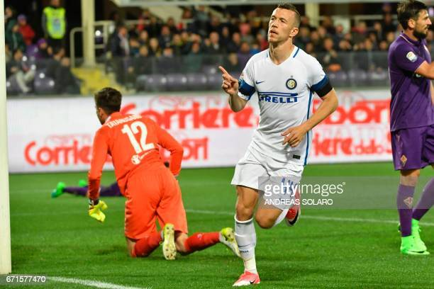 Inter Milan's forward from Croatia Ivan Perisic celebrates after scoring during the Italian Serie A football match Fiorentina vs Inter Milan on April...